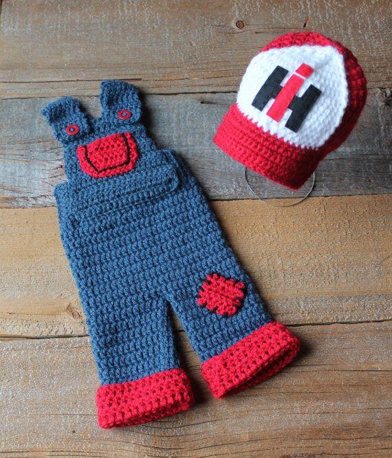 Case IH International Harvester Inspired Hat & Overalls Set - Newborn or 6 Month Size