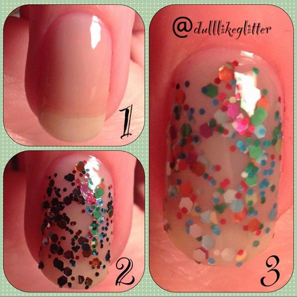 Jelly Sandwich Nail Tutorial.  1. Paint two coats of a translucent nail polish.  2. Paint two coats of a glitter polish. 3. Finish off with two more coats of the sheer polish to give the glitter its trapped effect.