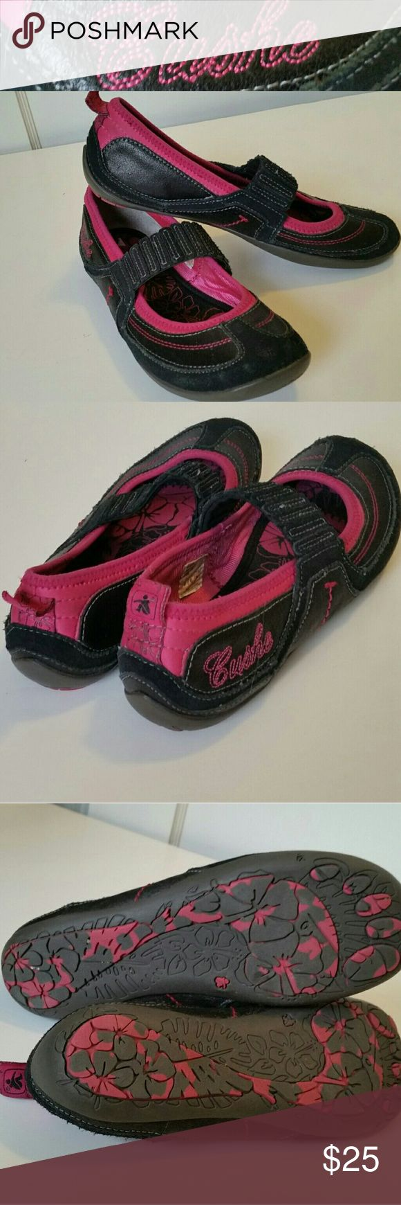 Cushe Slip On Walking Shoe Excellent condition pink and black memory foam sole walking shoe, Mary Jane style with stretchy strap. Cushe Shoes Flats & Loafers