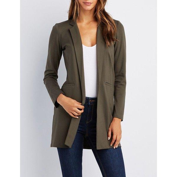 Charlotte Russe Notched Lapel Longline Blazer ($39) ❤ liked on Polyvore featuring outerwear, jackets, blazers, olive, boyfriend blazers, long length blazer, blazer jacket, stretch blazer and olive green jackets