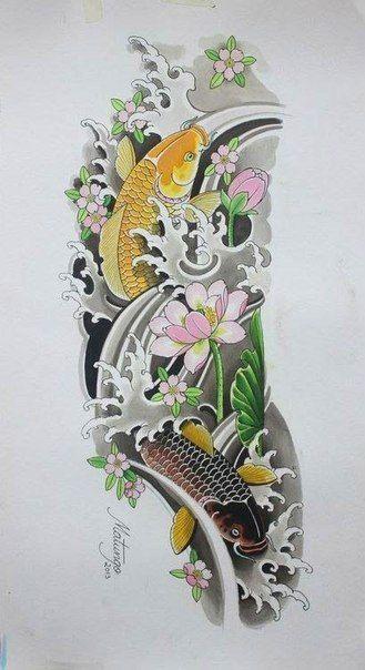 Тату эскизы, Японские татуировки, карп кои, тату драконы. | 117 photos | VK