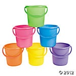 Mini bright pails...could put crayons in and set out on tables covered in butcher paper so kids can draw.