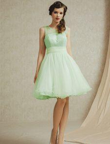 光の緑の a ライン レース チュール花嫁介添人ドレス