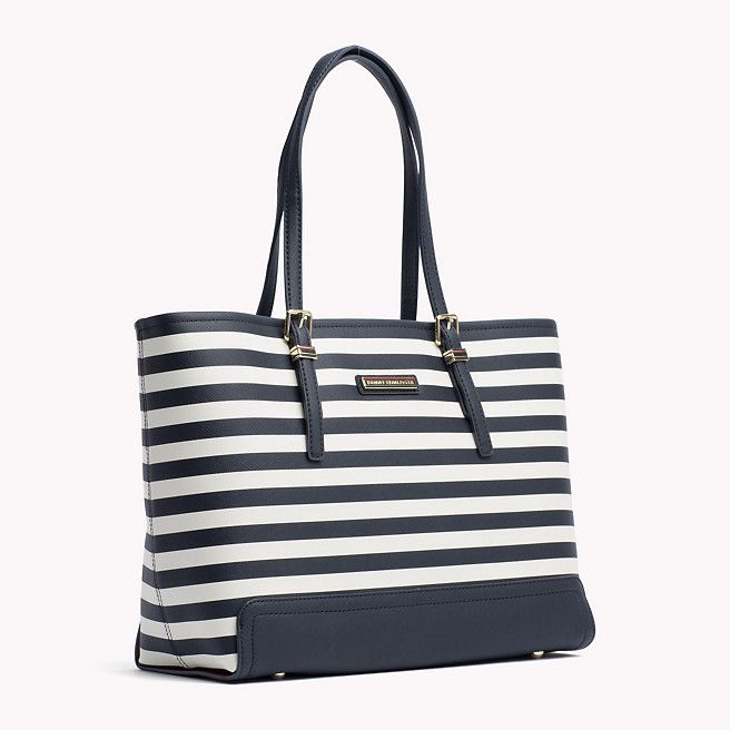 Tommy Hilfiger Saffiano Striped Tote - midnight / whisper white stripe (Blue) - Tommy Hilfiger Totes & Satchels - detail image 2