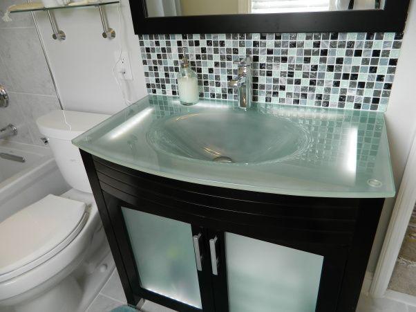 How To Install Glass Tile Backsplash In Bathroom Remodelling Endearing Design Decoration