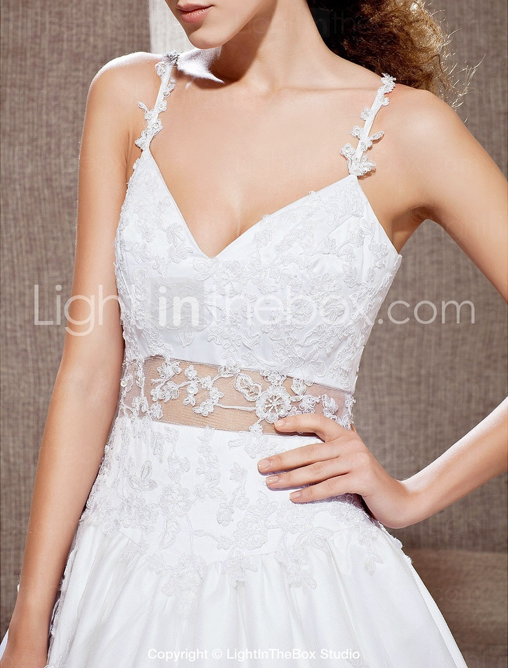 A-line V-neck Cathedral Train Lace Taffeta Wedding Dress - EUR € 383.99