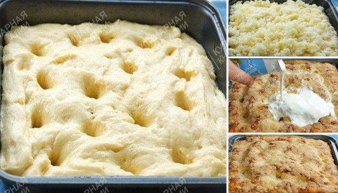 Zcela fantastický cukrový koláč z kynutého těsta přelitý smetanou | NejRecept.cz