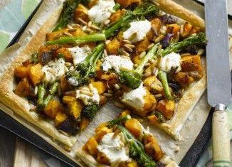 Tenderstem broccoli, pumpkin and pine nut tart