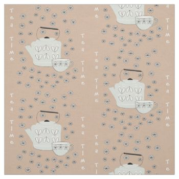 Tea time themed design with mid century Scandinavian Kettles and tea cups and lots of little black and white ditsy flowers; a cute pattern in pale blue. black and white on a neutral background but feel free to hit customize and change this color. Suitable for many craft and sewing projects and available in a choice of fabric styles; cut to lengths to suit you.