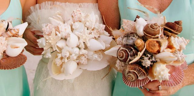 DIY Beach Wedding Inspiration Ideas - DIY Shell Bouquets with a lovely mix of soft feather accents and hard sea shells and starfish. Learn how to create your own by following the easy tutorial!