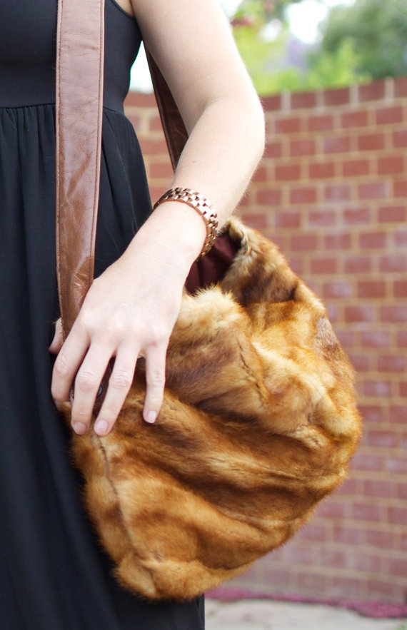 Upcycled Vintage Fur Handbag by remadestore on Etsy, $129.00