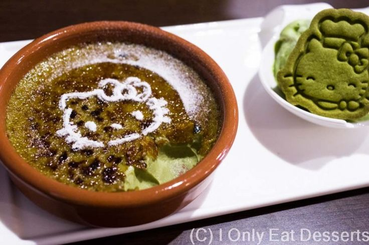Green Tea Creme Brulee served with green tea icecream and Hello Kitty Green Tea flavour biscuit