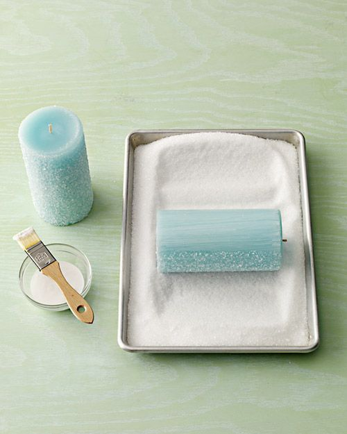 Frosty pillar candles - just coat a blue candle with a thin layer of Mod Podge and roll in a tray full of epsom salts. perfect for hostess gift.
