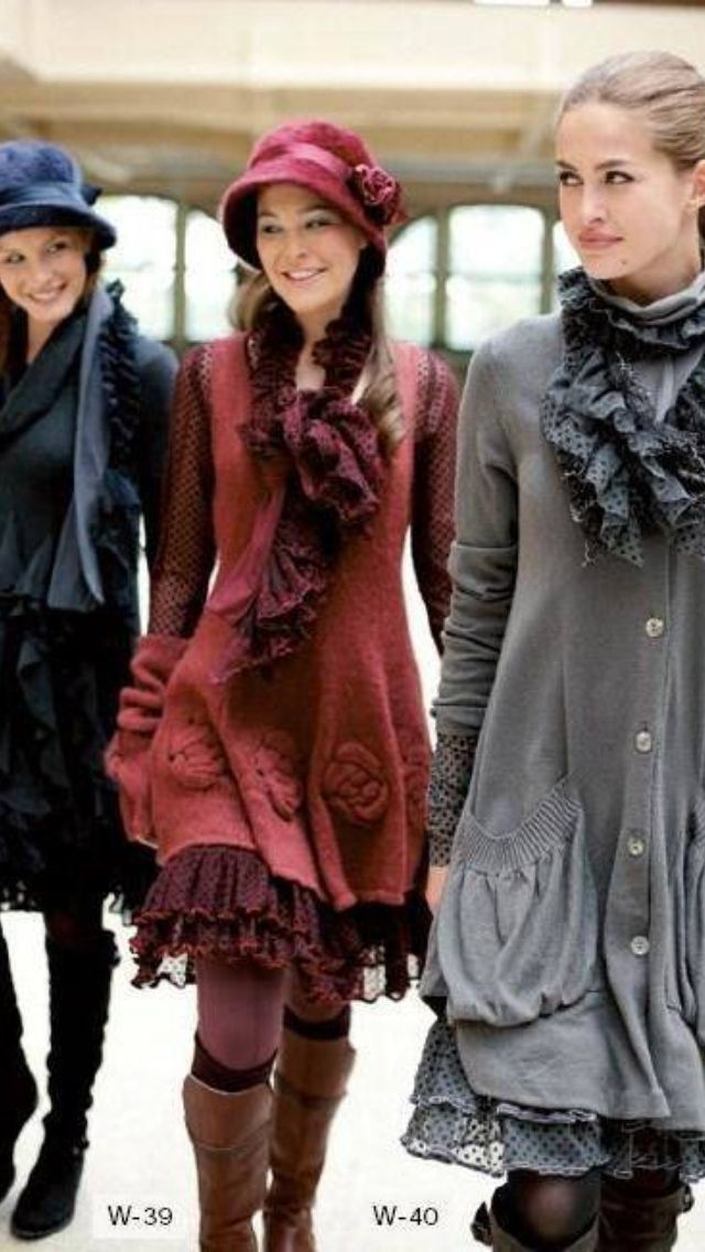 Love the long knitted sweaters over ruffly skirts - also the sleeves are interesting.