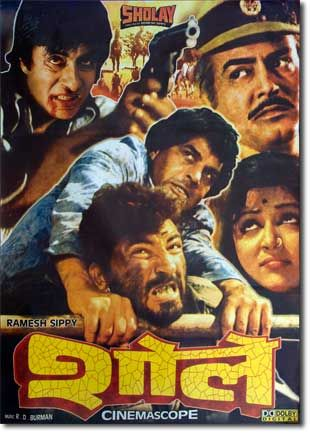 Sholay is a 1975 Indian action-adventure film produced by G.P. Sippy and directed by his son Ramesh Sippy. It is considered by the Encyclopaedia of Hindi cinema to be among the greatest films in Indian cinema. Released on 15 August 1975, it stars Dharmendra, Amitabh Bachchan, Sanjeev Kumar, Hema Malini, Jaya Bhaduri and Amjad Khan. The film, shot in the rocky terrain of Ramanagara Karnataka, is the story of two criminals hired to capture a ruthless dacoit by the name of Gabbar Singh.