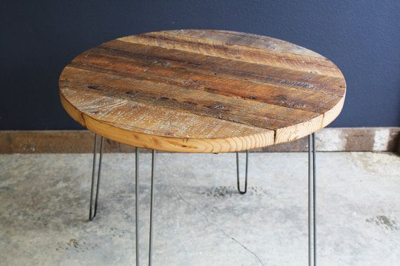 Round Coffee Table made from Antique Reclaimed Barnwood with hairpin legs. This antique barnwood is approx a century old and is filled with