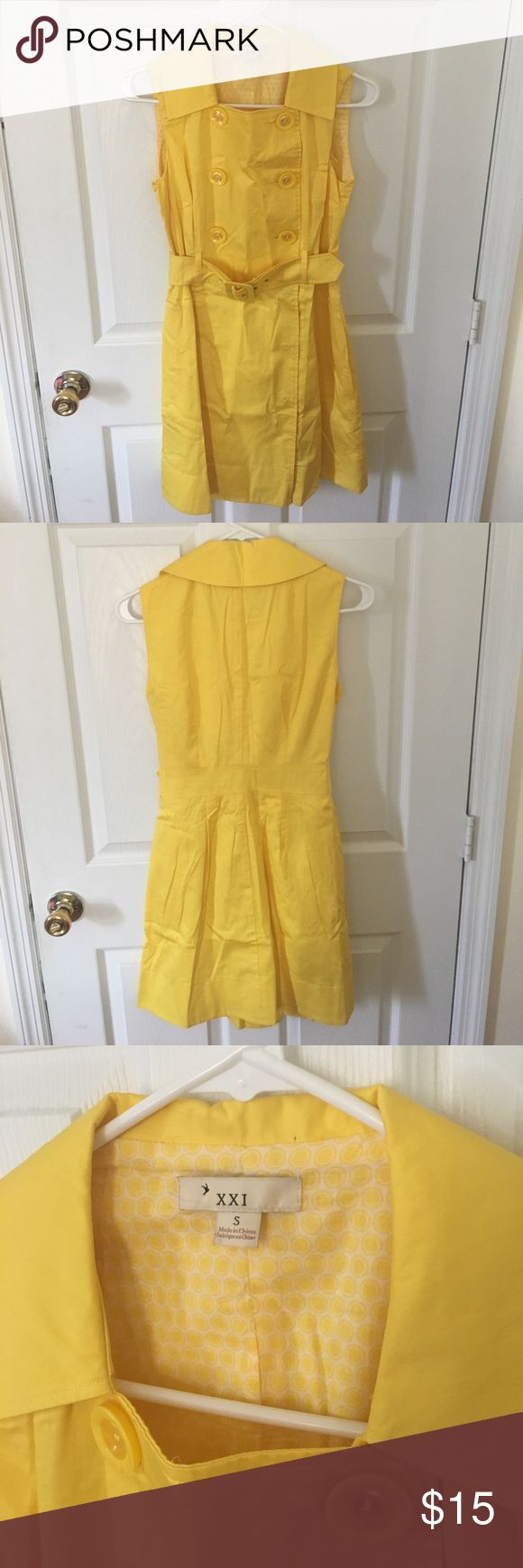 NWOT Yellow Trench Dress Size Small Super cute sleeveless trench dress from Forever 21. 100% cotton, fully lined, with pockets and removable fabric belt. Size Small. NWOT Forever 21 Dresses Mini