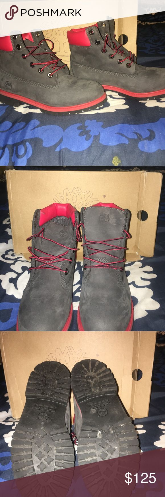 "BOOTS Size 7 youth Timberlands boots 6"" ONLY WORE ONCE DARK GRAY AND RED Timberland Shoes Combat & Moto Boots"