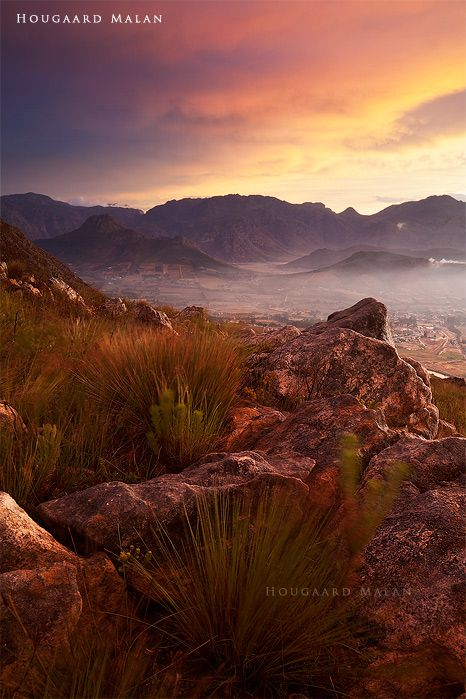 """""""Looking down over streets"""" in Franschhoek, South Africa"""