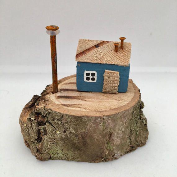 Little Blue Wooden House Driftwood Art Miniature Driftwood