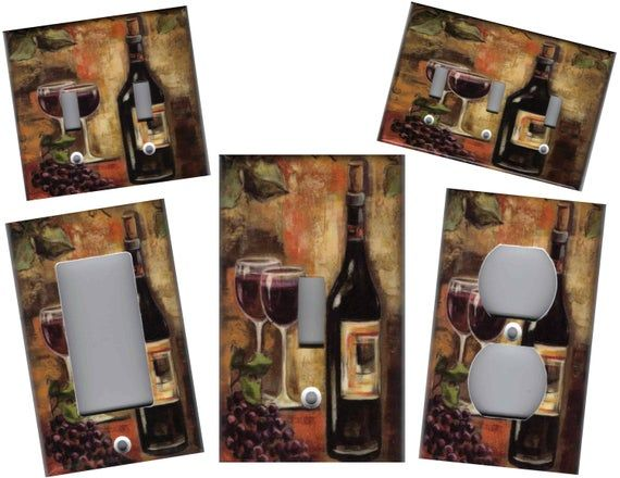 TUSCAN WINE /& GRAPES KITCHEN DECOR LIGHT SWITCH OR OUTLET COVER V308