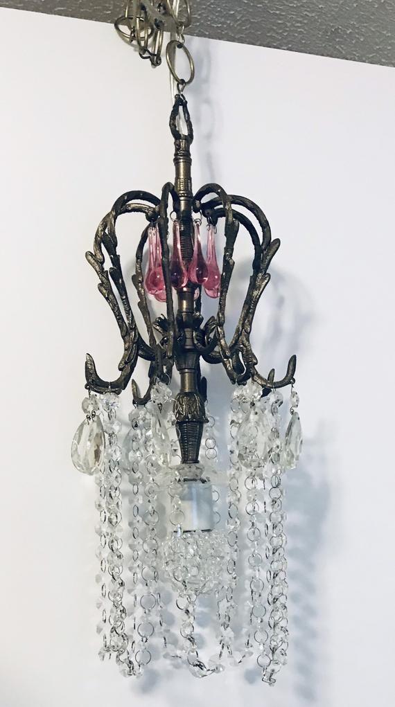 Chandelier Vintage Crystal Prisms Porcelain Socket Crystal Bead