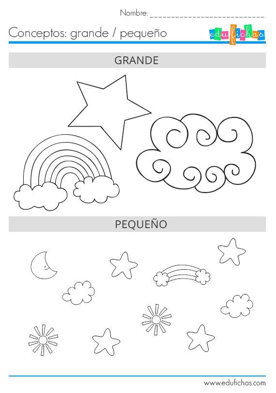 Aprende grande y pequeño. Worksheets for kids.   #diferencias #kids #niños…