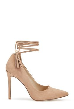 JAVVY - ShoeDazzle. Simple pumps will always be a necessity, but the Javvy by JustFab really brings something new to the conversation. With a wrapped ankle featuring tassels, she's just the right amount of play for work and beyond.