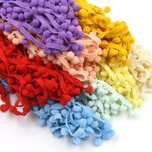 Venta caliente 5 Yards/Lot 17 Colores 10 MM Pom Pom Franja De Cinta de Bola del Ajuste DIY de Coser Accesorios de Encaje para el Hogar Decoración Del Partido(China (Mainland))