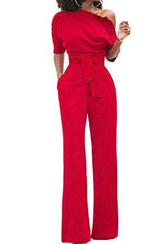Femmes Combinaison avec ceinture Taille haute Une épaule Pantalon large  Barboteuse Costume élégant f39f3b7e160