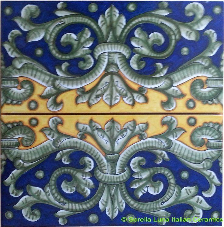 Hand Painted Italian Ceramic Tiles The Acanthus Crest