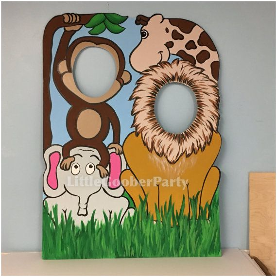 Jungle Birthday Party Prop . Jungle Cutout . Safari Face in Hole Photo Booth Prop Outdoor Decor