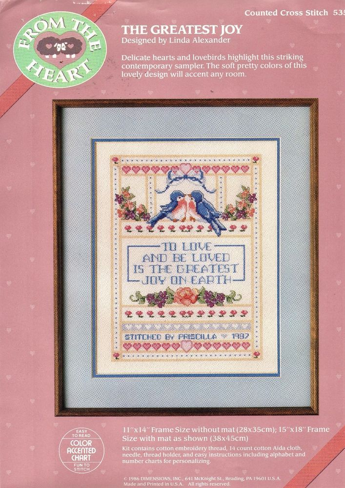 Dimensions Cross Stitch Sampler The Greatest Joy #53302 From the Heart 1986  #Dimensions