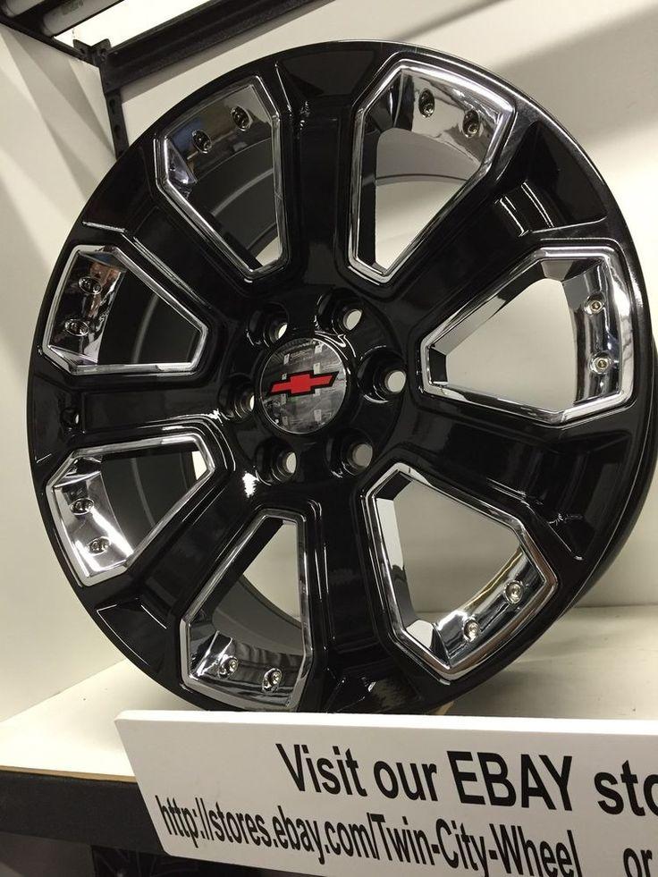 20 inch gloss black chrome 2015 GM OE CK 164 replica Chevrolet Silverado  wheels ...