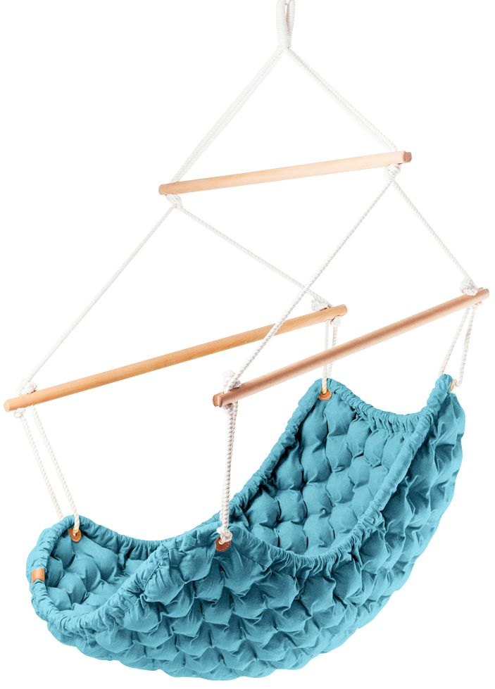 The SWINGY IN suspended indoor rocking chair is nothing if not unique—this hanging chair is lovingly handmade by the lovely Linda Vrnakova, whose earnestness and creativity shows through in all of her work. It is cute, quirky, and cozy in appearance; the SWINGY IN chair is the swinging equivalent to your favorite childhood armchair.