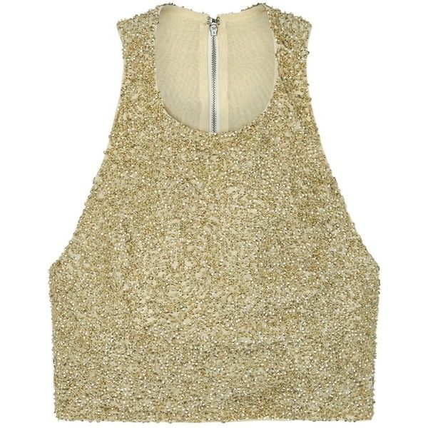 Alice + Olivia Tru Gold Cropped Sequinned Top - Size 10 (€435) ❤ liked on Polyvore featuring tops, alice olivia top, racer back top, brown top, racerback top and racer back crop top