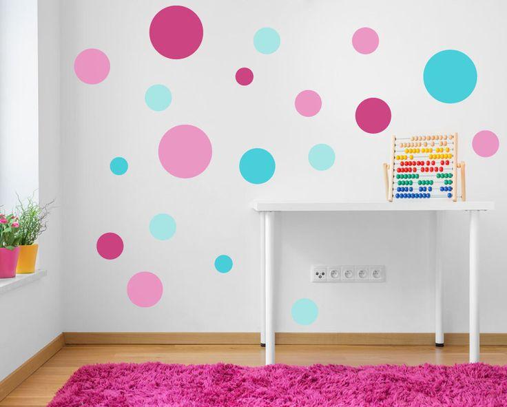Spot Decals Pink Turquoise Aqua Polka Dot Wall Stickers Nursery Baby Room Girls Kids Bedroom Spots