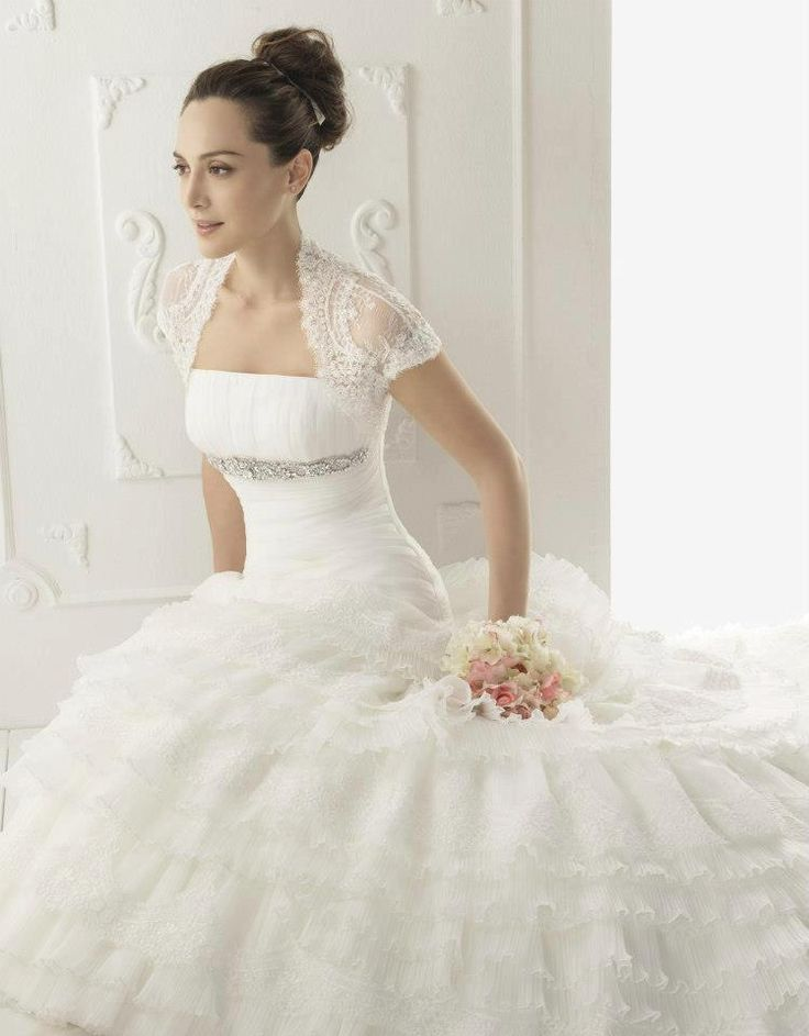 Chaqueta con manga para vestido de novia en encaje de aire for Chaquetas de novia