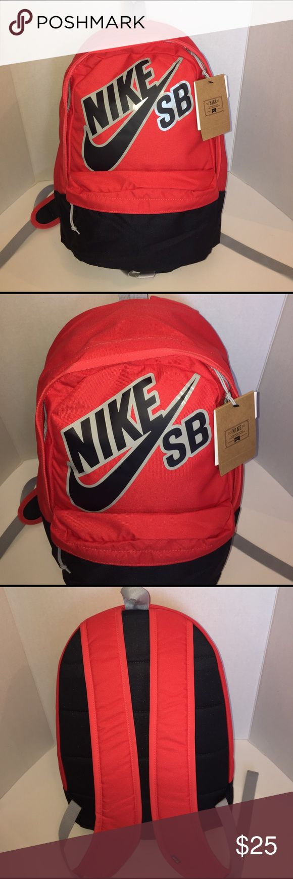 """Brand-new Nike SB backpack Brand-new with tags. Nike SB backpack. Capacity: 1587 cu in. Color: red/black. Large main zippered compartment. Smaller front stash pocket with organizer. Measures approximately 17.5"""" x 14"""" Nike Accessories Bags"""