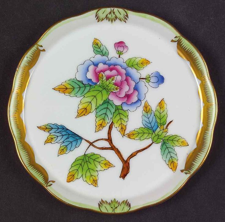 Herend China Patterns | Herend Queen Victoria Green Border Coaster 7211700 | eBay