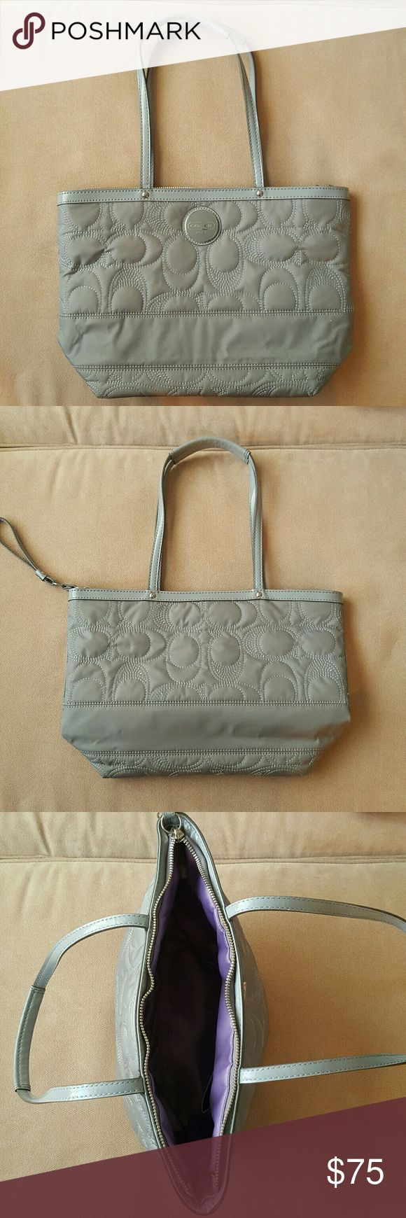 Coach Signature Stitch Nylon Tote in Gray Excellent condition, gray quilted nylon tote bag.  Clean inside and outside, light marking inside, but can be cleaned.  Worn over the shoulder, this is a great bag! Coach Bags Totes