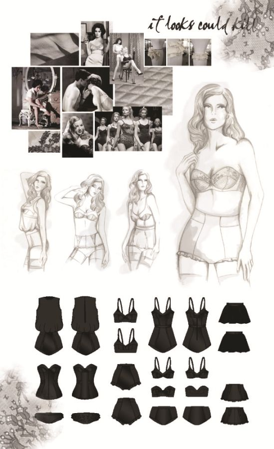Fashion Portfolio - lingerie design drawings; fashion illustration; fashion sketchbook // Samantha Dover