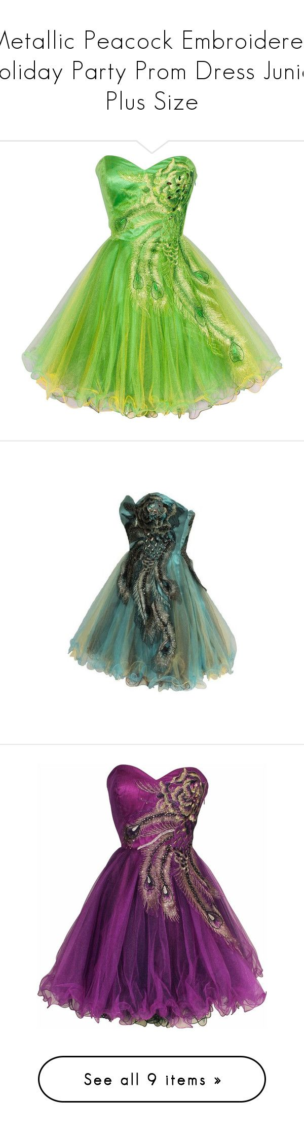 """""""Metallic Peacock Embroidered Holiday Party Prom Dress Junior Plus Size"""" by qwertyuiop-sparta ❤ liked on Polyvore featuring dresses, short dresses, green cocktail dress, plus size prom dresses, plus size green dress, green party dress, plus size party cocktail dresses, formal dresses, plus size red dress and prom dresses"""