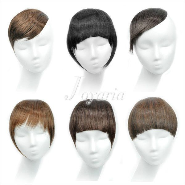 Women's Clip In On Forehead Inclined Neat Trim Bang Fringe Hair Wigs Extension #Unbranded #HairExtension