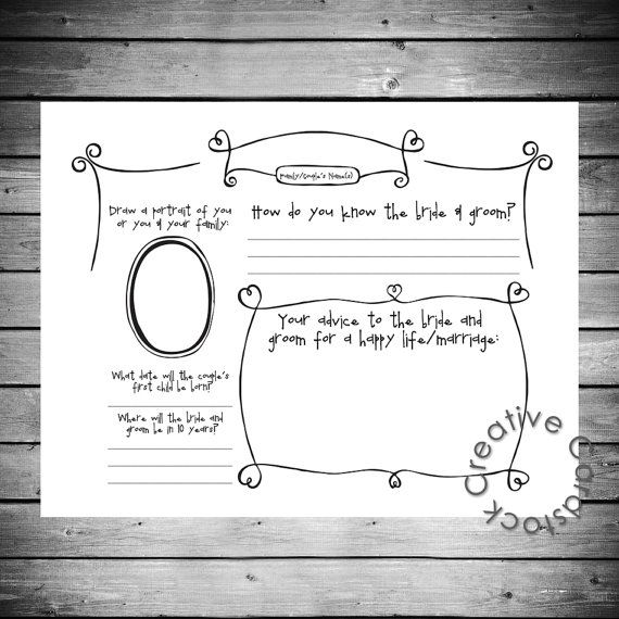 Unique Wedding Guest Book Page Customized by CreativeCardstock, $15.00