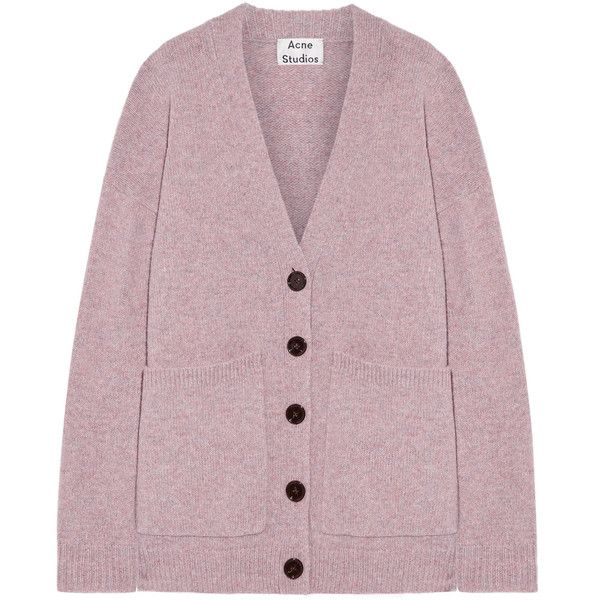 Acne Studios Sahar faux suede-paneled wool cardigan (€395) ❤ liked on Polyvore featuring tops, cardigans, jackets, short-sleeve cardigan, woolen tops, drop-shoulder tops, sleeve top and lilac top