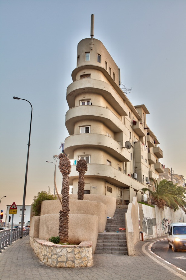 """Bauhaus Style - """"The Ship House"""", built on a hill in Tel Aviv during 1934-1935 and is one of the famous among ~4,000 international styled houses in Tel-Aviv. Rests on a 3-streets triangle, which dictates its shape."""