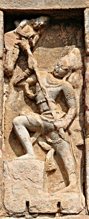 """Lord Shiva Kills Andhak. "" Virupaksha Temple. Pattadakal. Chalukya Dynasty. 8th Century CE. Karnataka, India."
