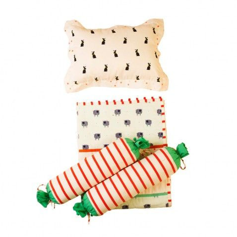 Baby Jalebi - Unisex Baby Bedding. Baa Baa Sleepy Sheep Blanket Pillow & Bolster Set