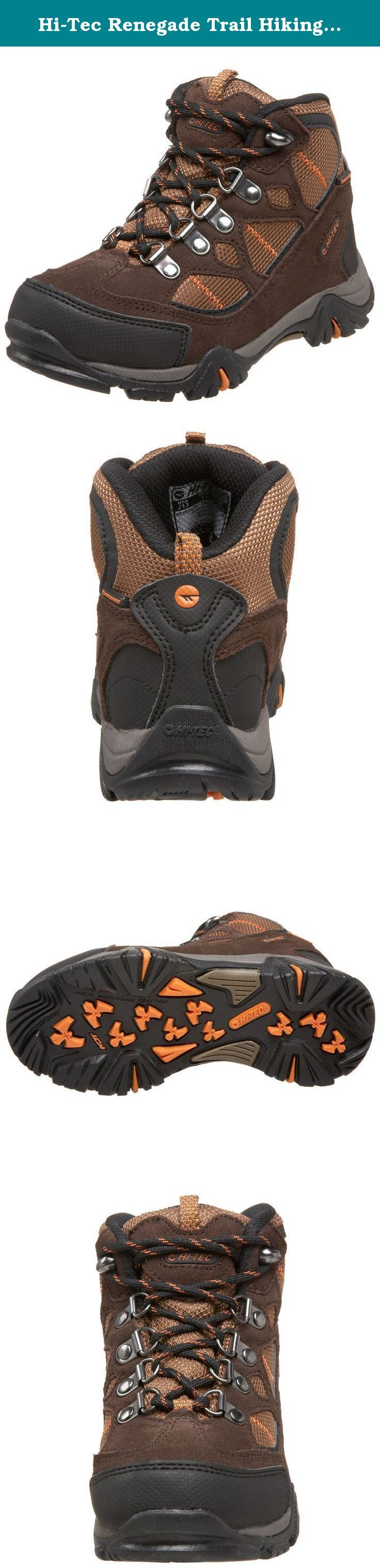 Hi-Tec Renegade Trail Hiking Boot (Toddler/Little Kid/Big Kid),Dark Chocolate/Burnt Orange/Brown,4 M US Big Kid. Kids Hi - Tec Renegade Trail Waterproof Jr. Hiking Boots keep smaller feet comfy and protected. If you're bringing the kids along on a nature walk, it's smart to equip them with adequate footwear! These Renegades do the job... and then some! They're completely waterproof and seam-sealed to make moisture-related discomfort an afterthought. Extremely comfortable too, with an EVA...